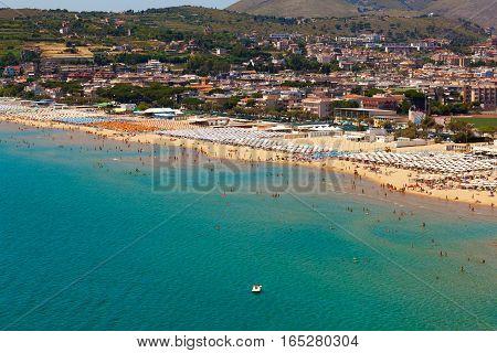 Summer landscape of Mediterranean sea coast. Bay of Serapo Gaeta in Italy.