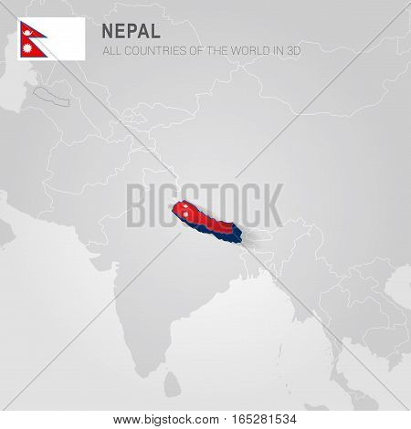 Nepal painted with flag drawn on a gray map.