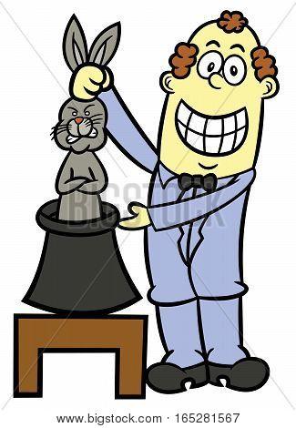 Magician Pulling Rabbit From Hat Cartoon Illustration