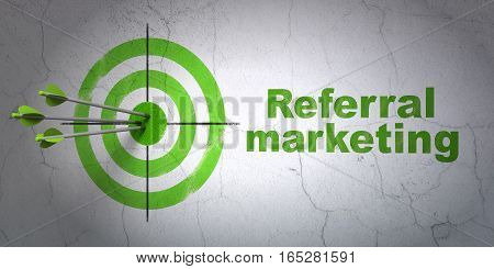 Success marketing concept: arrows hitting the center of target, Green Referral Marketing on wall background, 3D rendering
