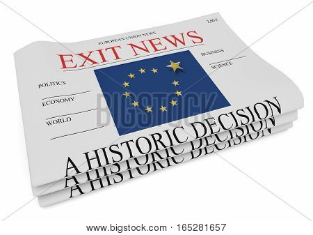 EU Politics News Concept: Pile of Newspapers Exit 3d illustration on white background