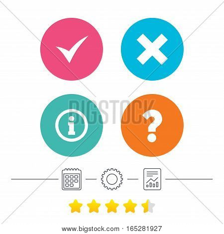 Information icons. Delete and question FAQ mark signs. Approved check mark symbol. Calendar, cogwheel and report linear icons. Star vote ranking. Vector