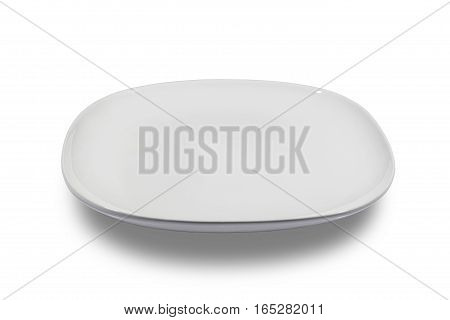 Flat white square plate with rounded corners on white background from side