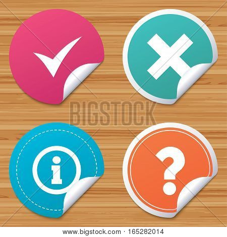 Round stickers or website banners. Information icons. Delete and question FAQ mark signs. Approved check mark symbol. Circle badges with bended corner. Vector