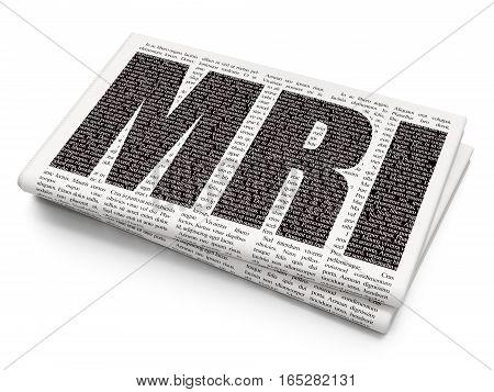 Medicine concept: Pixelated black text MRI on Newspaper background, 3D rendering