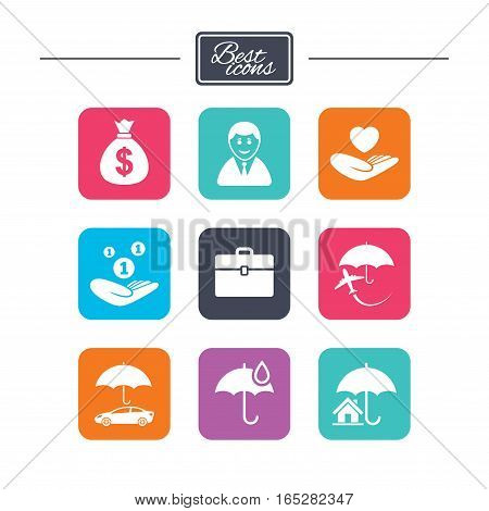 Insurance icons. Life, Real estate and House signs. Saving money, vehicle and umbrella symbols. Colorful flat square buttons with icons. Vector
