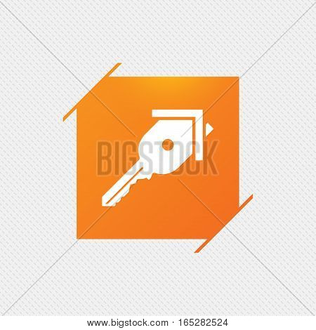 Key from the house sign icon. Unlock tool symbol. Orange square label on pattern. Vector
