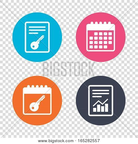 Report document, calendar icons. Key sign icon. Unlock tool symbol. Transparent background. Vector