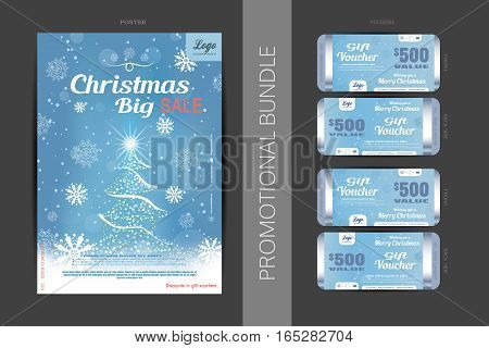 Vector Christmas big sale promotional bundle of blue poster and gift vouchers with Christmas tree snowflakes and snowfall on the gradient background.