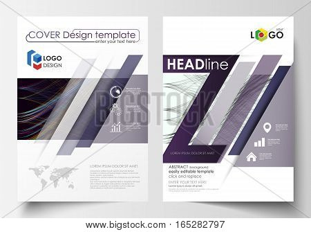 Business templates for brochure, magazine, flyer, annual report. Cover template, easy editable vector, flat layout in A4 size. Abstract waves, lines and curves. Dark color background. Motion design