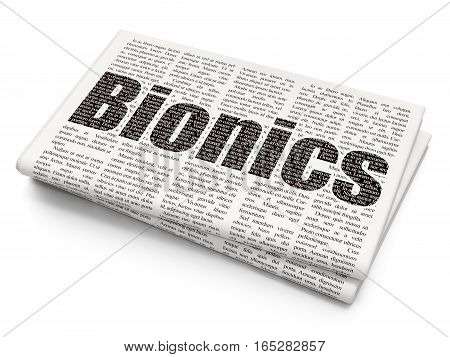 Science concept: Pixelated black text Bionics on Newspaper background, 3D rendering