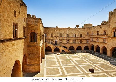View of the Palace of the Grand Master courtyard, Rhodes Island, Greece