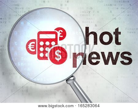 News concept: magnifying optical glass with Calculator icon and Hot News word on digital background, 3D rendering
