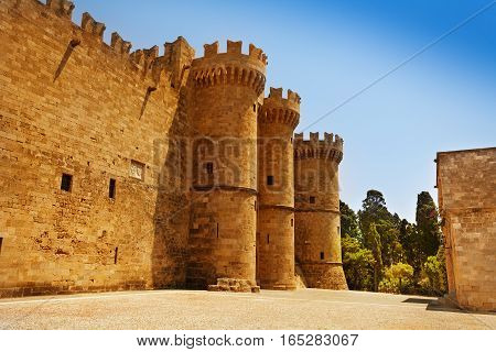 Old turrets of the Grand Master Palace, Rhodes Island, Greece