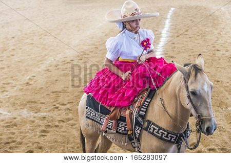 GUADALAJARA MEXICO - SEP 01 : Charra participate at the 23rd International Mariachi & Charros festival in Guadalajara Mexico on September 01 2016.