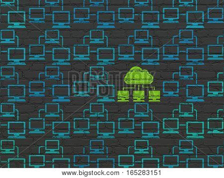 Cloud networking concept: rows of Painted blue lan computer network icons around green cloud network icon on Black Brick wall background