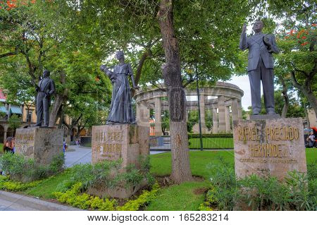 GUADALAJARA MEXICO - AUG 29 : The Rotonda de los Jaliscienses Ilustres in Guadalajara Mexico on August 29 2016. It honors the memory of the people of Jalisco