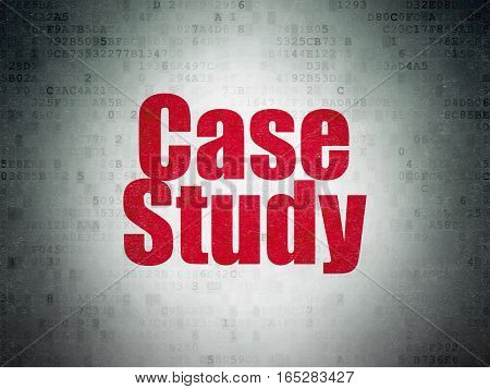 Education concept: Painted red word Case Study on Digital Data Paper background
