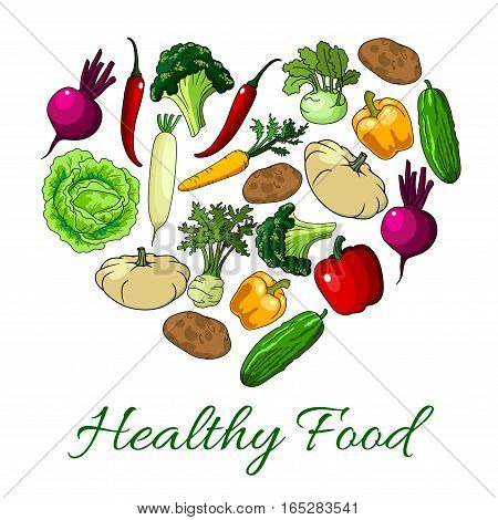 Veggies and vegetables heart poster. Vegetarian greens food of zucchini squash and patisony, daikon radish and beet, cucumber, tomato, bell and chili pepper, potato, kohlrabi cabbage and broccoli. Vector farm fresh ripe vegetable harvest