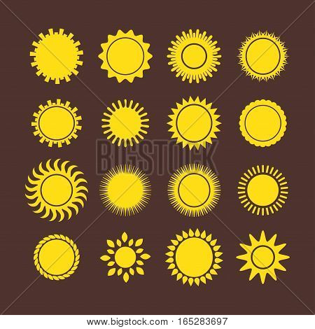 Sun icons weather collection vector illustration. Yellow graphic sunbeam hot light element. Nature solar abstract shine silhouette. Creative ray art season object.