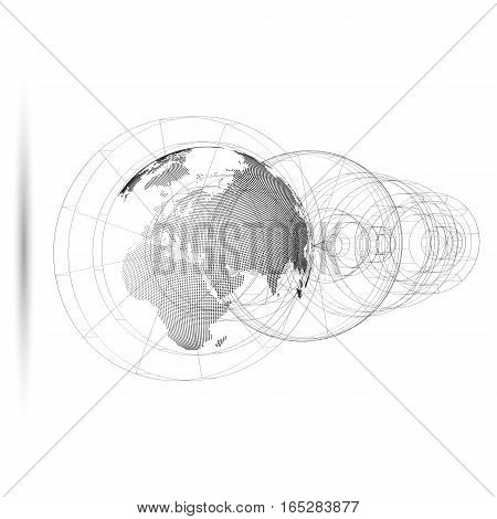 Isolated 3D dotted world globe with abstract construction, connecting lines on white background. Vector design, structure, shape, form, orbit, space station. Scientific research. Science, technology concept
