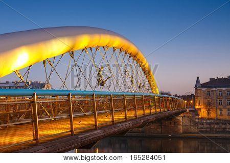 Bernatka Footbridge Over Vistula River In Krakow, Poland