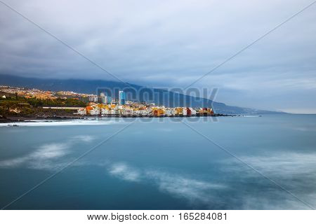 View Of Puerto De La Cruz In Tenerife, Canary Islands, Spain, Long Time Exposure
