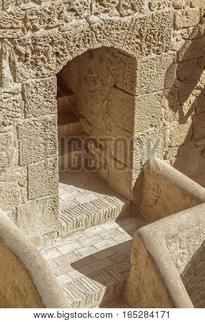 stairs and passage inside the castle of santa barbara alicante spain.