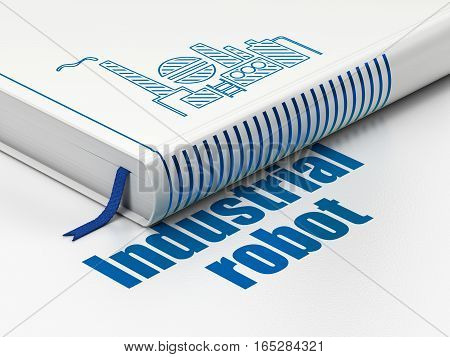 Manufacuring concept: closed book with Blue Oil And Gas Industry icon and text Industrial Robot on floor, white background, 3D rendering
