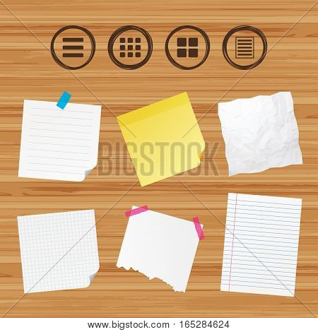 Business paper banners with notes. List menu icons. Content view options symbols. Thumbnails grid or Gallery view. Sticky colorful tape. Vector
