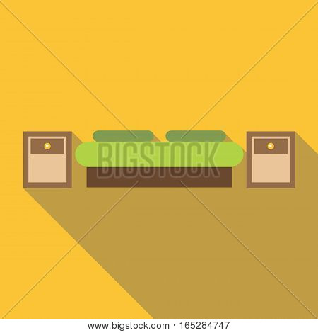 Bed icon. Flat illustration of bed vector icon for web