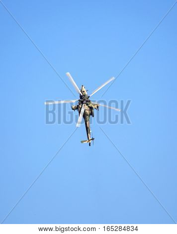 Top view of the russian attack helicopter Mi 28 armed with rockets bombs guns and able to fight day and night