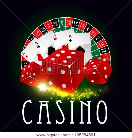 Casino vector poster of wheel of fortune roulette with lucky numbers, red gaming dices and poker game aces cards suits with spades, hearts, diamonds and clubs with gold glittering light