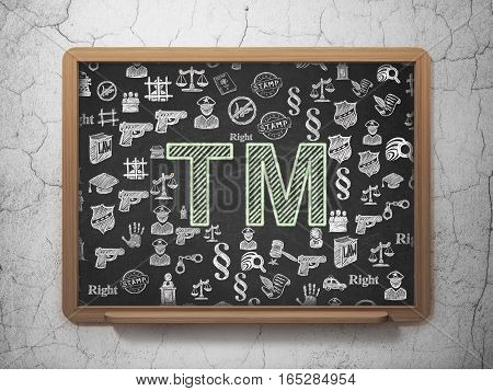 Law concept: Chalk Green Trademark icon on School board background with  Hand Drawn Law Icons, 3D Rendering