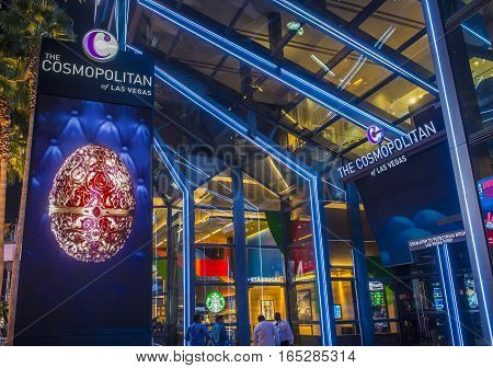 LAS VEGAS - NOV 08 : The Cosmopolitan hotel casino interior in Las Vegas on November 08 2016. The Cosmopolitan opened in 2010 and it has 2995 rooms and 75000 sq ft casino.
