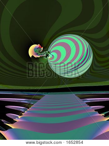 From SCI-FI series Alien Pop Art . Glowing abstract fractal background featuring alien landscape with splash of vivid colors and optical illusion . poster