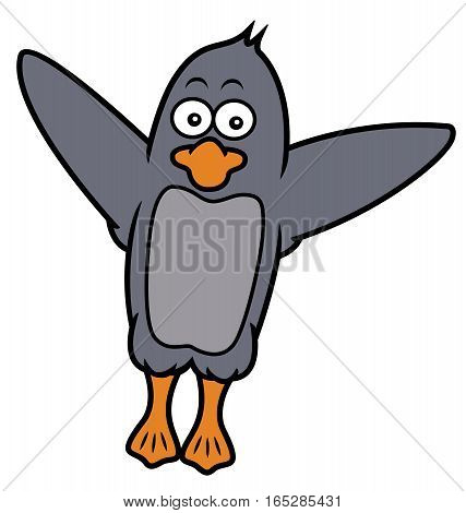 Penguin Spread Wings Cartoon Illustration Isolated on White