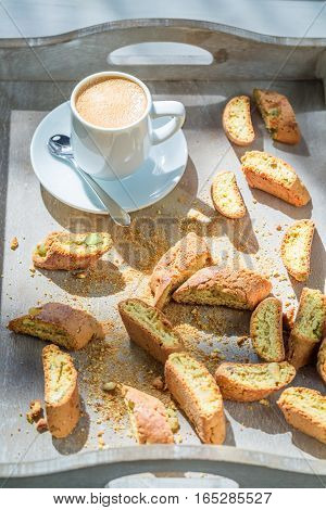 Italian Cantucci With Espresso In Sunny Day