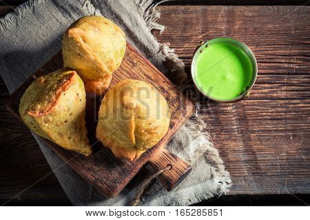 Yummy Samosa With Meat And Green Dip