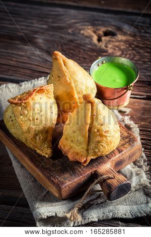 Yummy And Hot Samosa With Green Dip