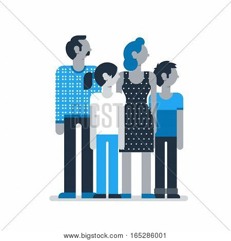 Family outfit, group of people, young girl and boy with parents, man and woman together. Flat design vector illustration