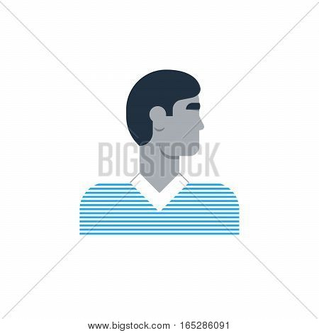 Male character turned head, middle age man. Flat design vector illustration