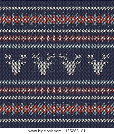 Knitted  texture on blue background with deers. Colorful striped pattern. Sample can be used as scheme of knitting, wallpaper, design element, independent project, etc. Woolen cloth, handmade.