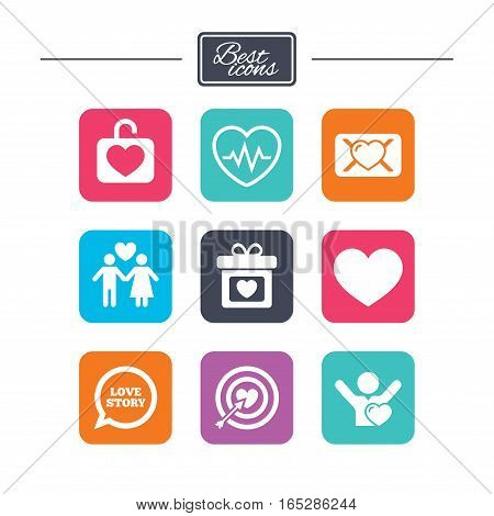 Love, valentine day icons. Target with heart, oath letter and locker symbols. Couple lovers, heartbeat signs. Colorful flat square buttons with icons. Vector