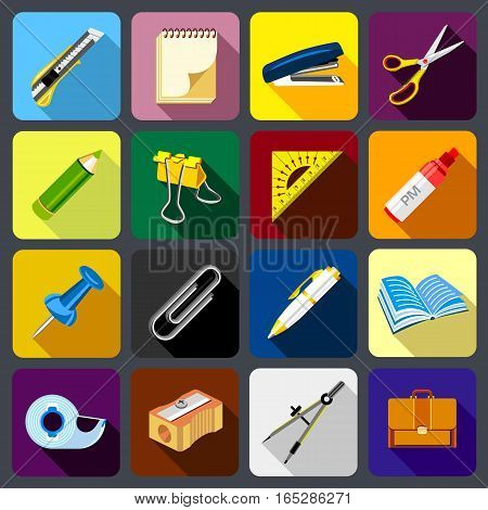 Stationery icons set. Flat illustration of 16 stationery vector icons for web