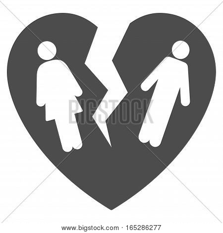 Broken Family Heart vector icon. Flat gray symbol. Pictogram is isolated on a white background. Designed for web and software interfaces.