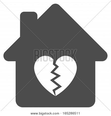 Divorce House Heart vector icon. Flat gray symbol. Pictogram is isolated on a white background. Designed for web and software interfaces.