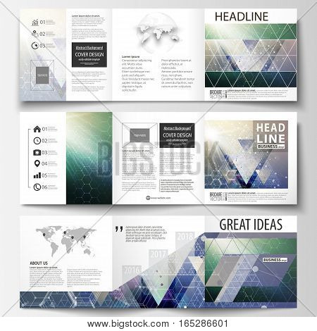Set of business templates for tri fold brochures. Square design. Leaflet cover, abstract vector layout. Chemistry pattern, hexagonal molecule structure. Medicine, science, technology concept