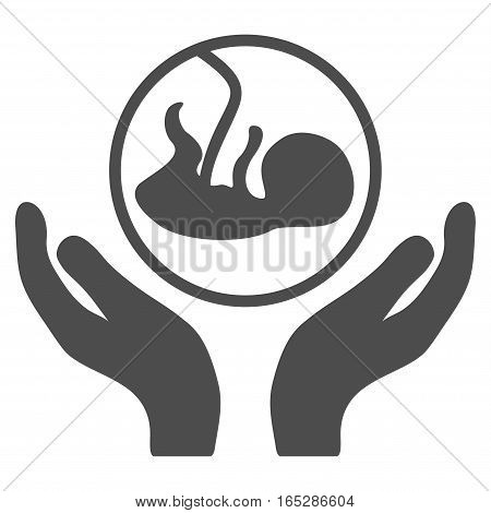Embryo Care Hands vector icon. Flat gray symbol. Pictogram is isolated on a white background. Designed for web and software interfaces.