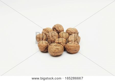 So many Walnuts isolated on white background